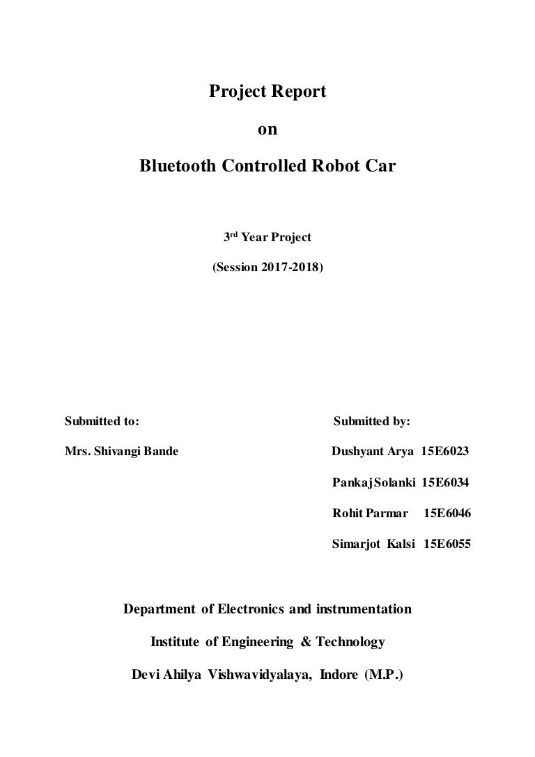 Bluetooth Controlled Robot Project Report Pc Using With Circuit Diagram