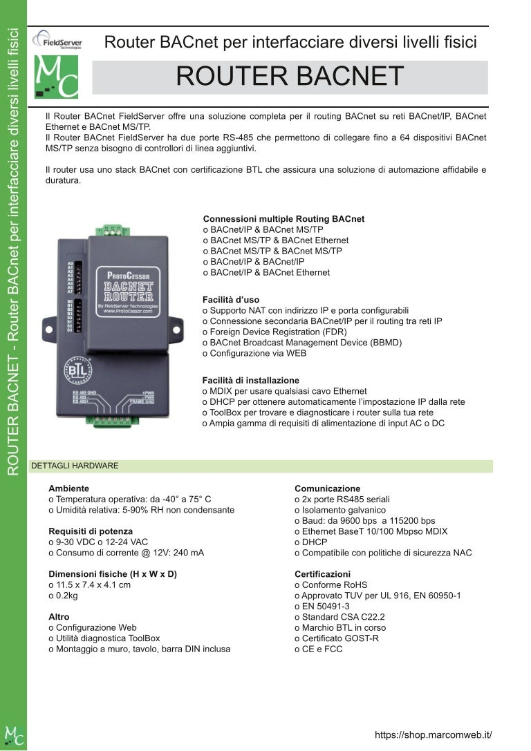 Router BACnet IP / MSTP / Ethernet