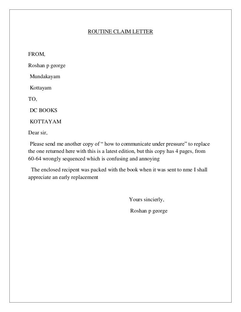 Claims Letter | Routine Claim Letter