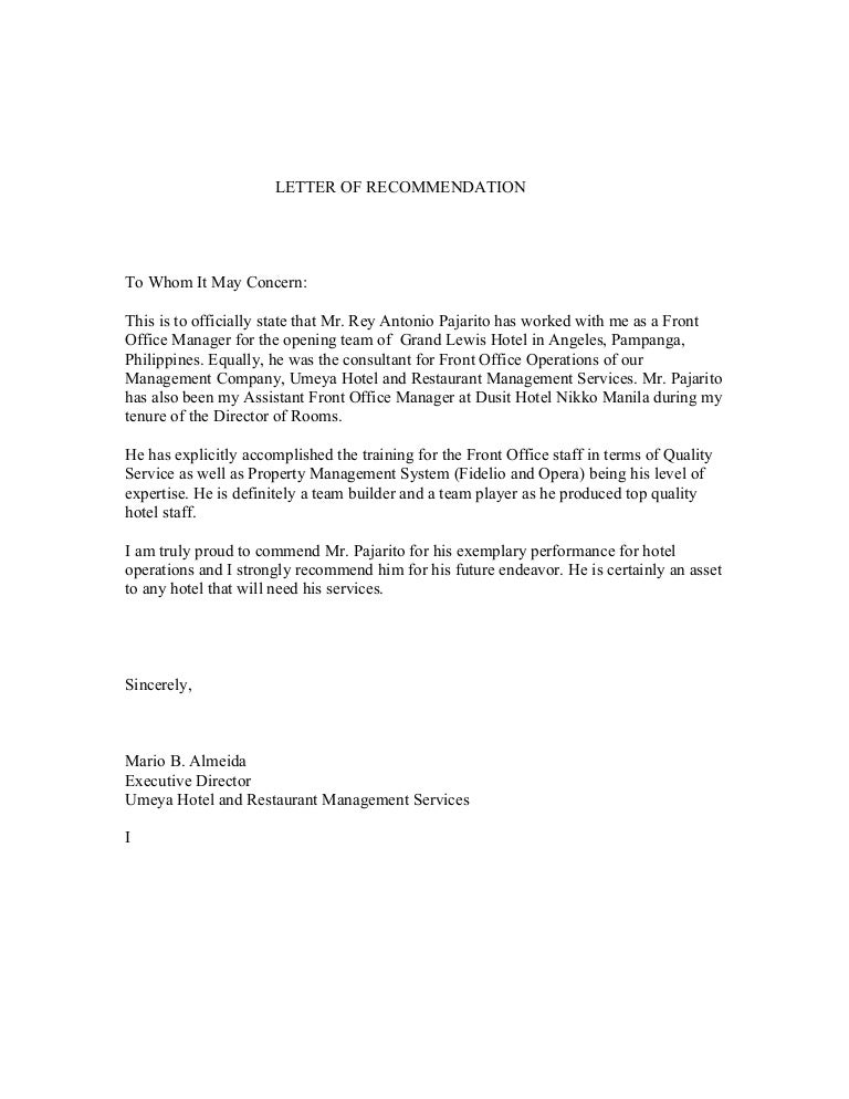 Letter of recommendation from mr mario almeida executive for Hotel recommendation
