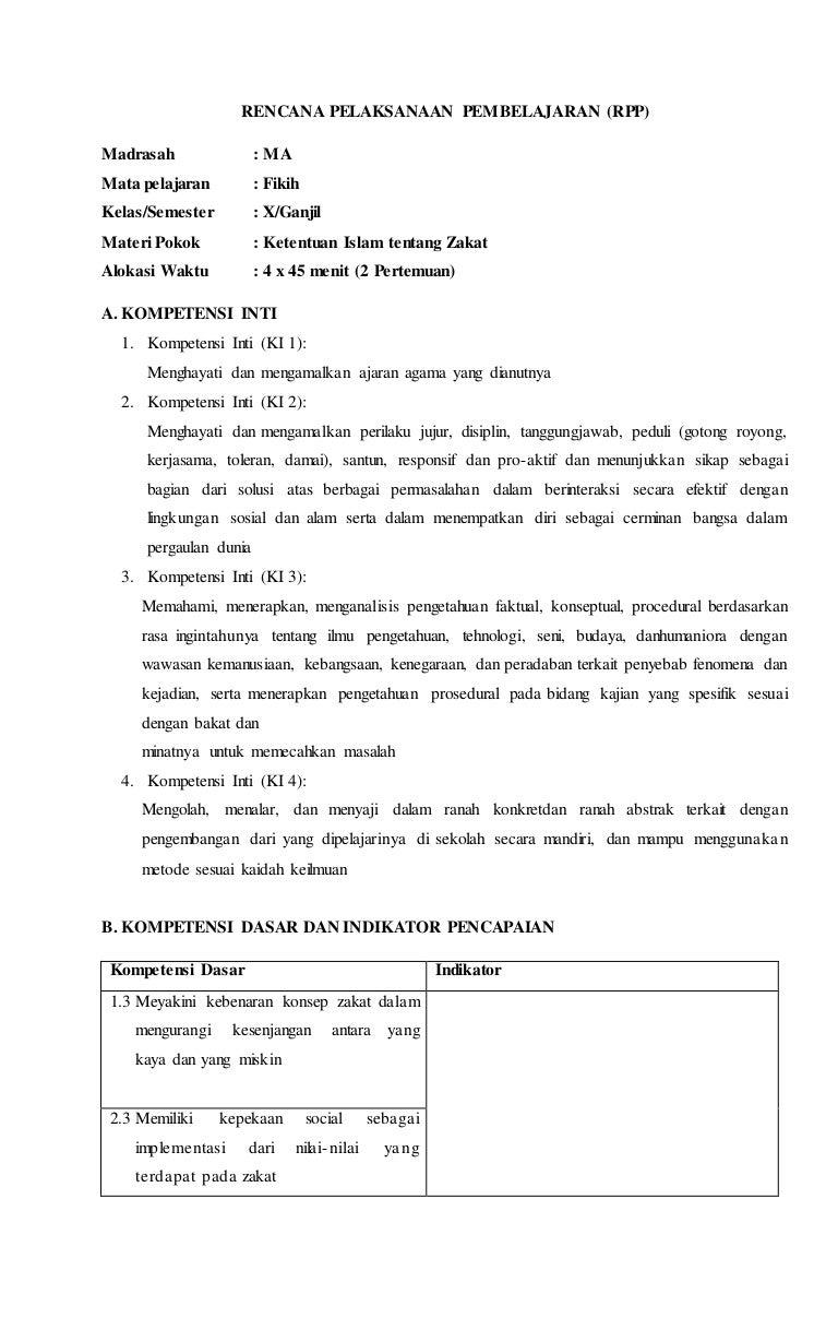 Rpp Fiqih Kelas X Kurikulum 2013 Terbaru