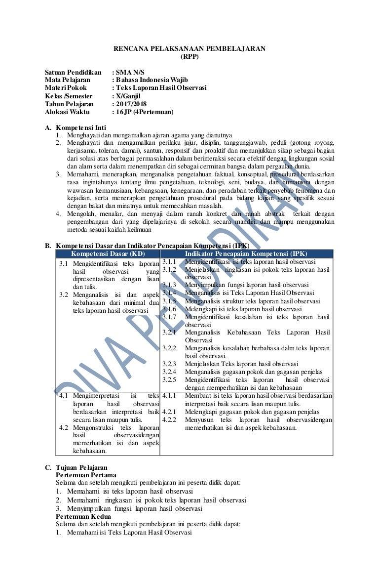 Rpp Revisi 2017 Bahasa Indonesia Wajib Kelas 10 Sma