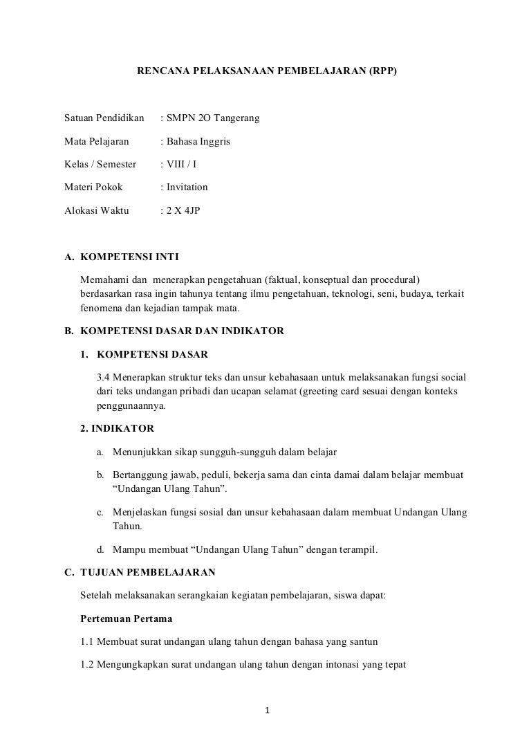 Rpp Kurikulum 2013 Smp Kelas 8 Invitation Card