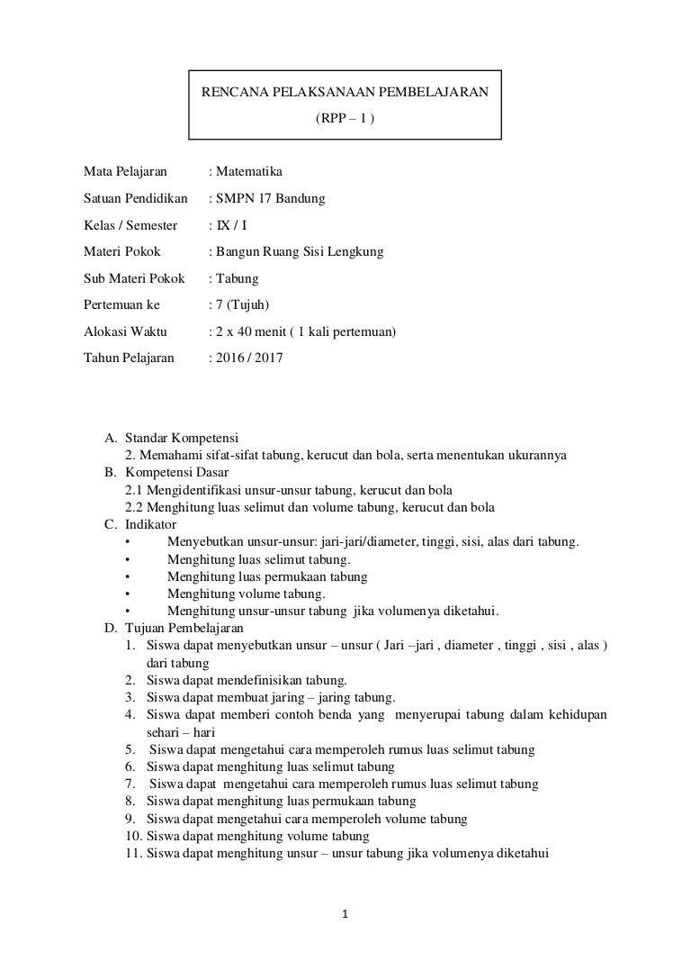 Rpp Bangun Ruang Sisi Lengkung Tabung Matematika Smp Kelas Ix Sem