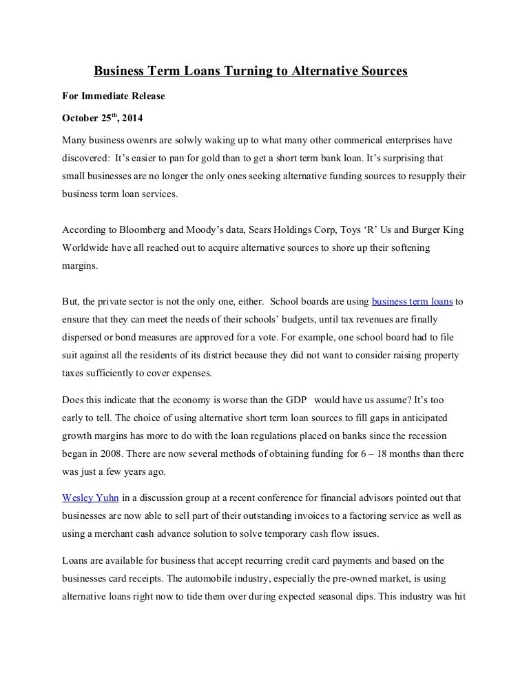 press release 1 business term loans turning to alternative sources