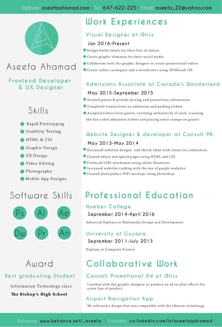 Aseefa Fron End Developer And Ux Designer Resume