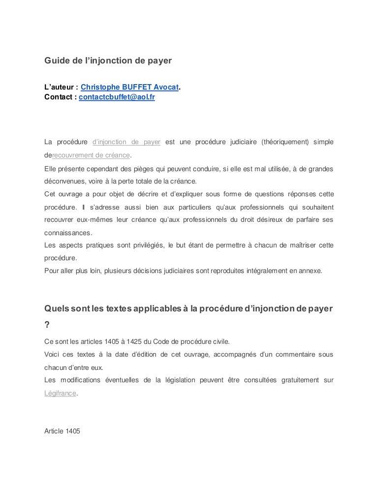 Guide De L Injonction De Payer