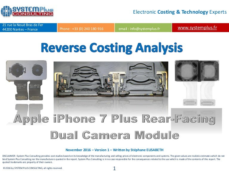 Apple Iphone 7 Plus Rear Facing Dual Camera Module 2016