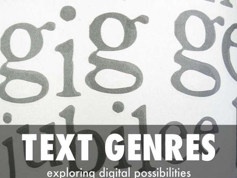 Text Genres: exploring digital possibilities