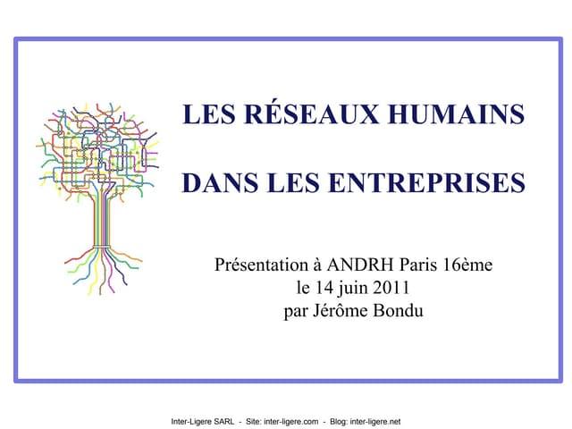 Les réseaux humains dans les entreprises