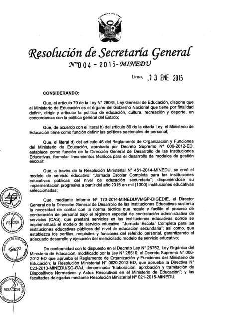 Rsg 004 2015-minedu norma para contrato cas de docentes en jec-directiva
