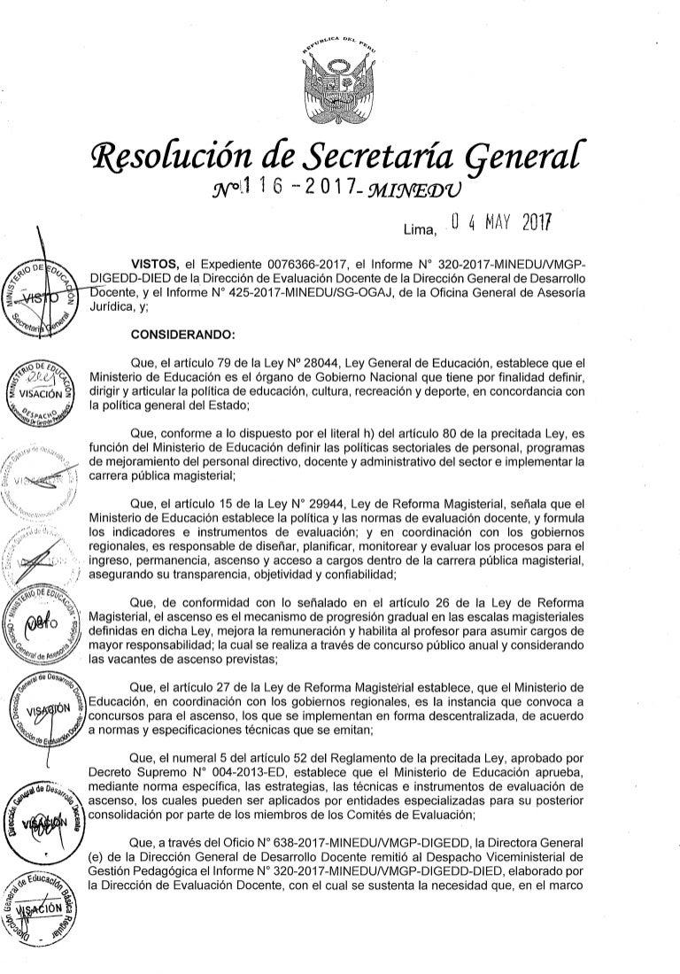 Rsg Nº 116-2017-MINEDU. NORMA TECNICA PARA EL CONCURSO PUBLICO PARA A…
