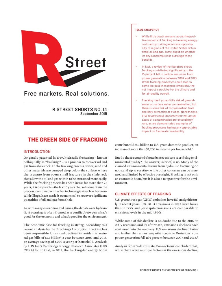 R Street Institute Report The Green Side Of Fracking