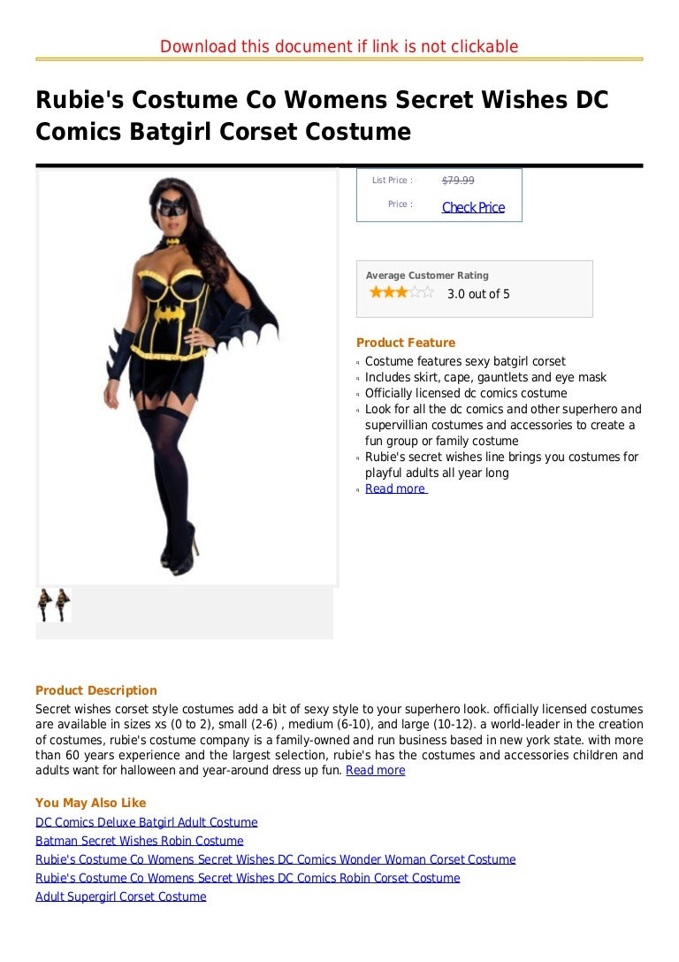 sc 1 st  SlideShare & Rubieu0027s costume co womens secret wishes dc comics batgirl corset costu2026