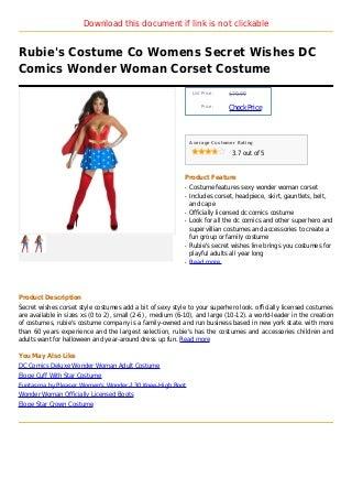 Rubie's costume co womens secret wishes dc comics wonder woman corset costume
