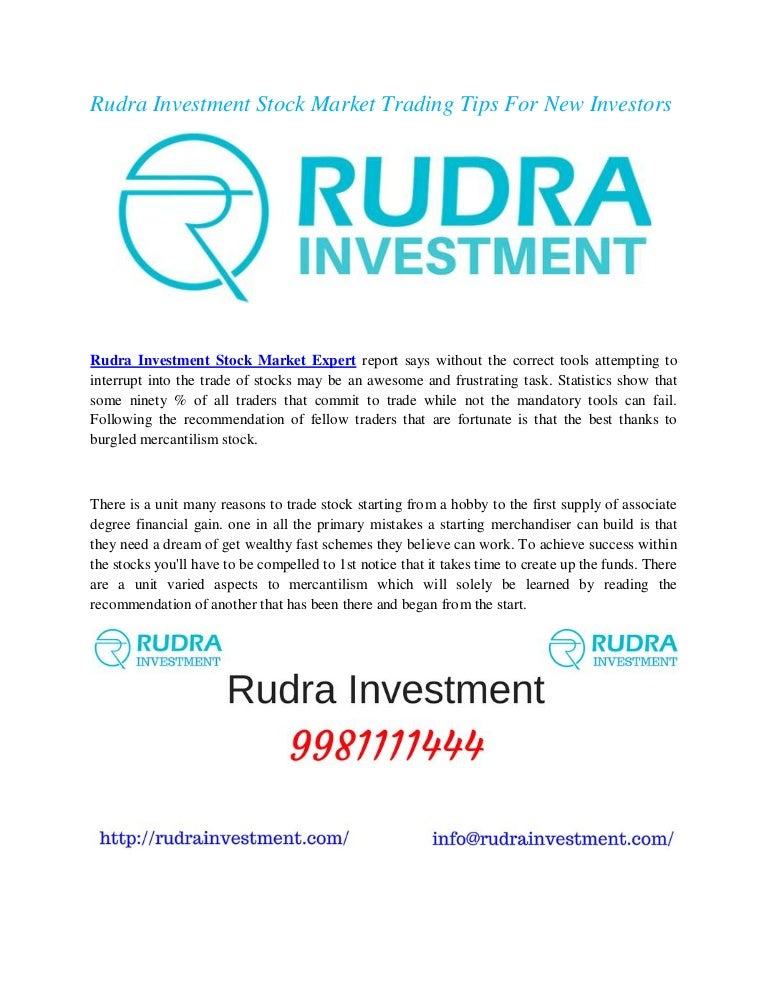 Rudra Investment Stock Market Trading Tips For New Investors