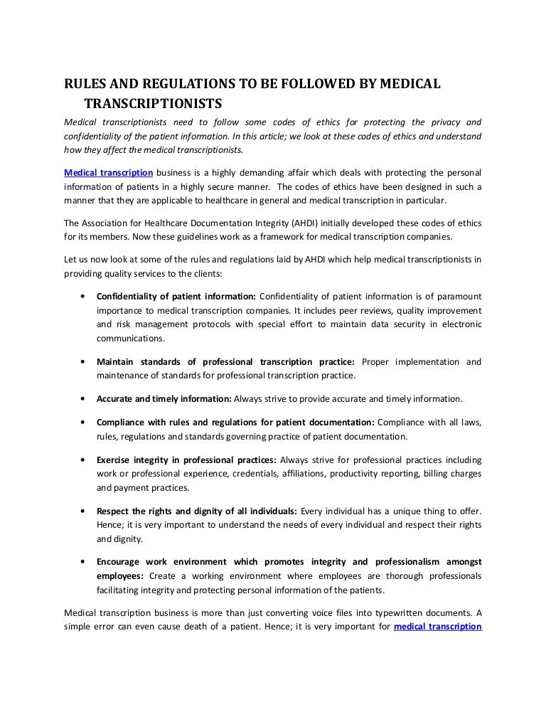 Rules And Regulations To Be Followed By Medical Transcriptionists