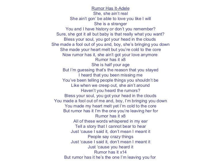 Rumors and gossip lyrics