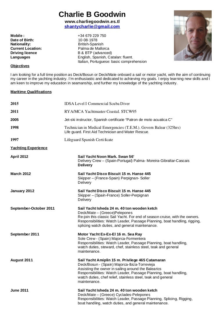 charlie u0026 39 s nautical resume