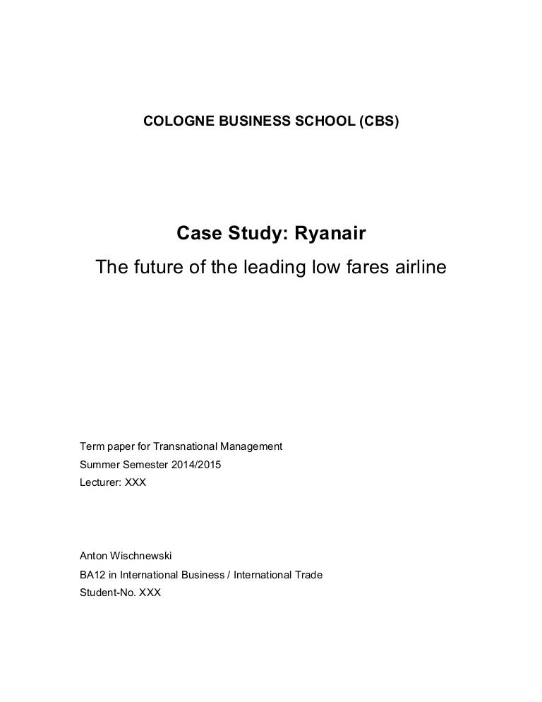 Case study on ryanair business strategy evaluation