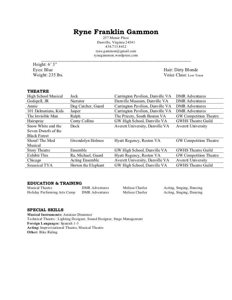 theatre resume rgammon - Sample Musical Theatre Resume