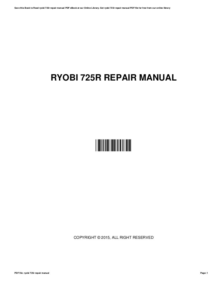 Specifications | ryobi 725r user manual | page 24 / 26.