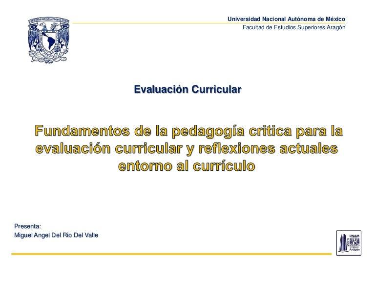 Sesión 1 Evaluación Curricular, fundamentos críticos y reflexiones ac…