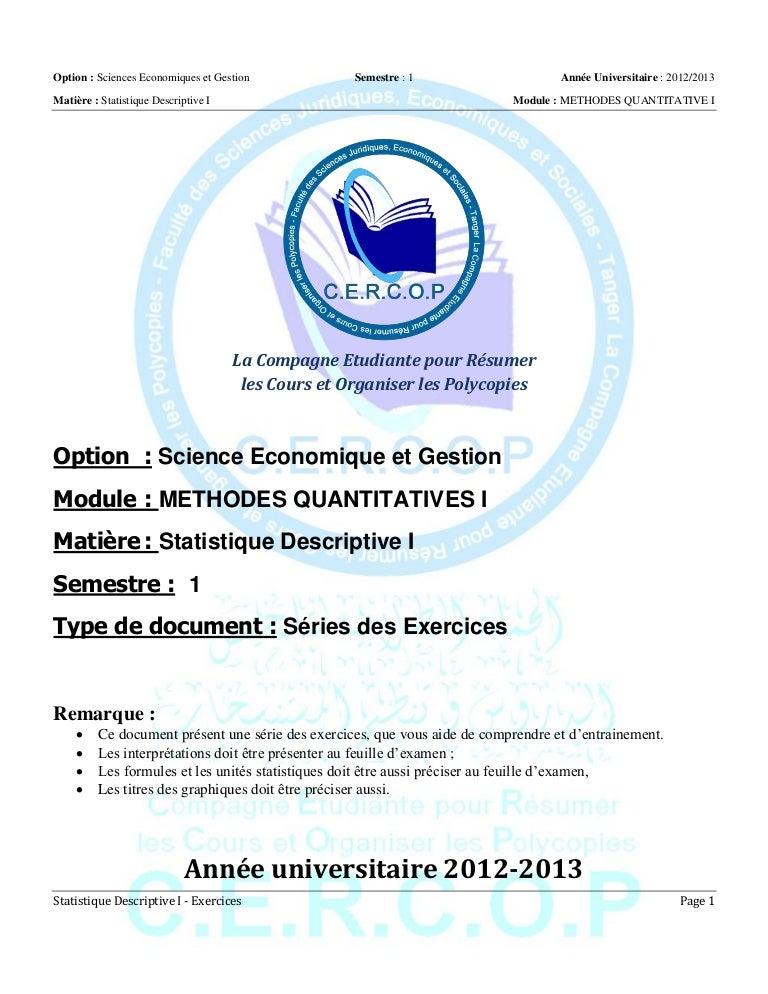 S1 mq i - statistique descriptive i - exercices