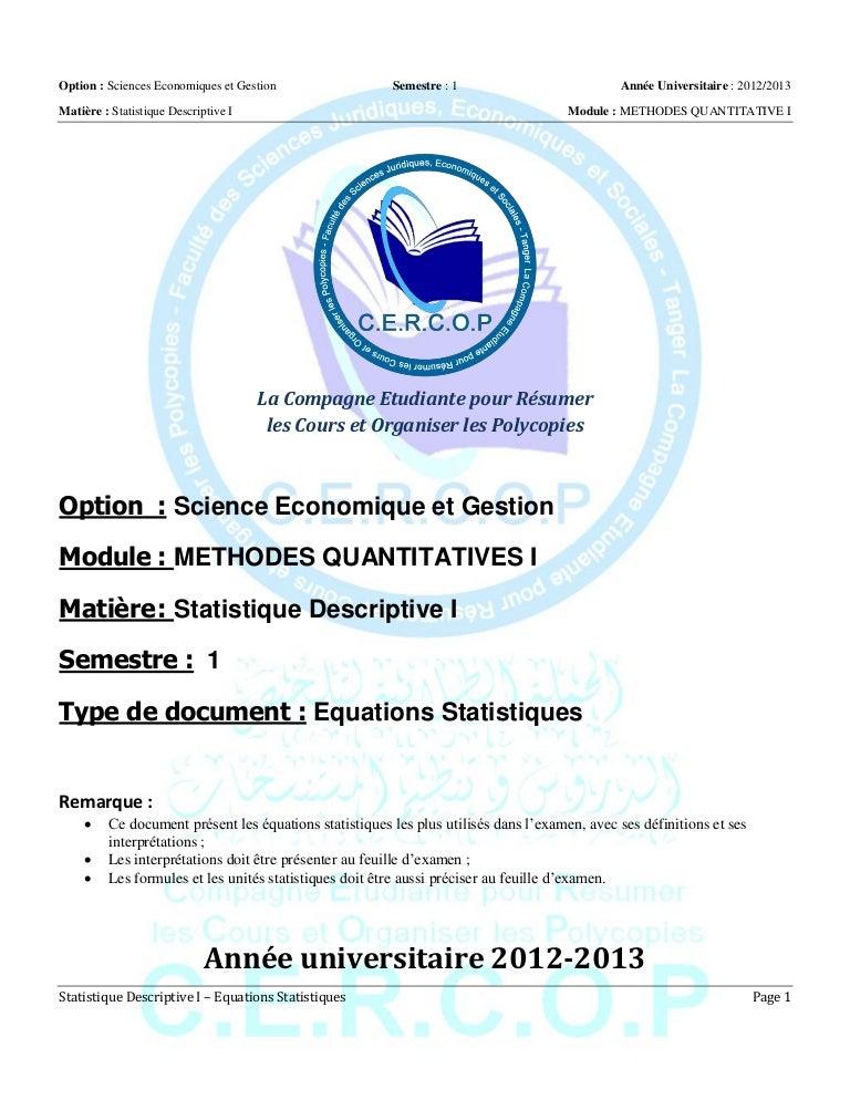 S1 mq i - statistique descriptive i - equations statistiques
