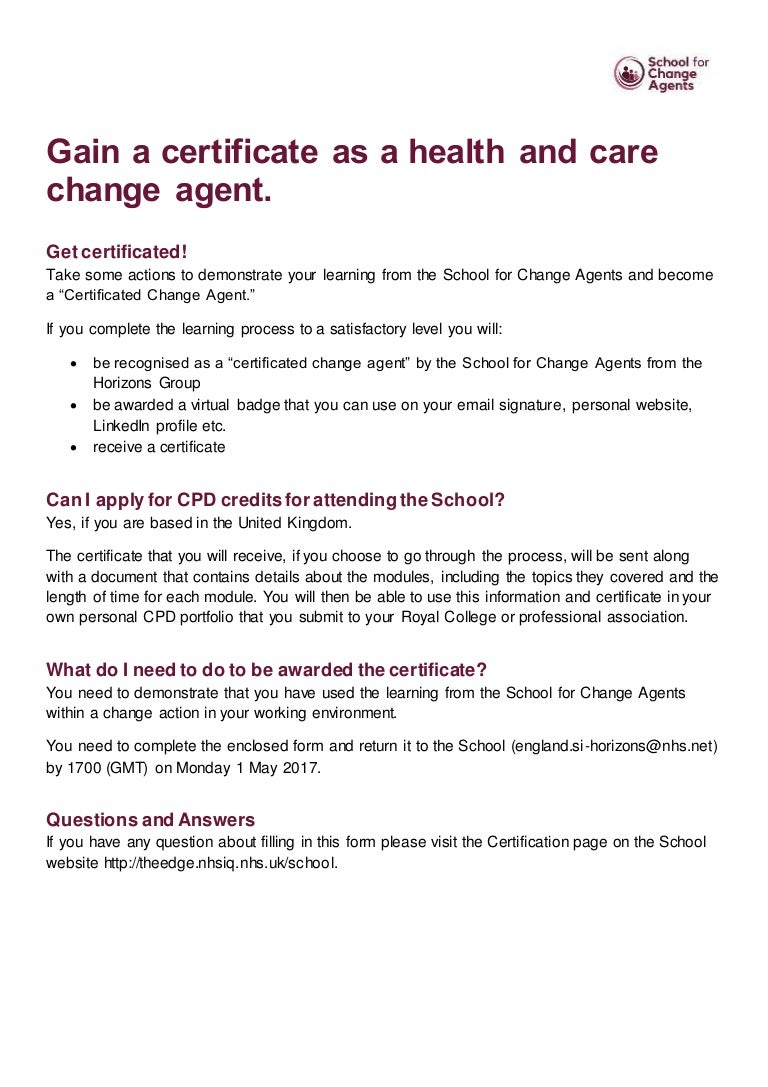 School for change agents certification application form 1betcityfo Image collections
