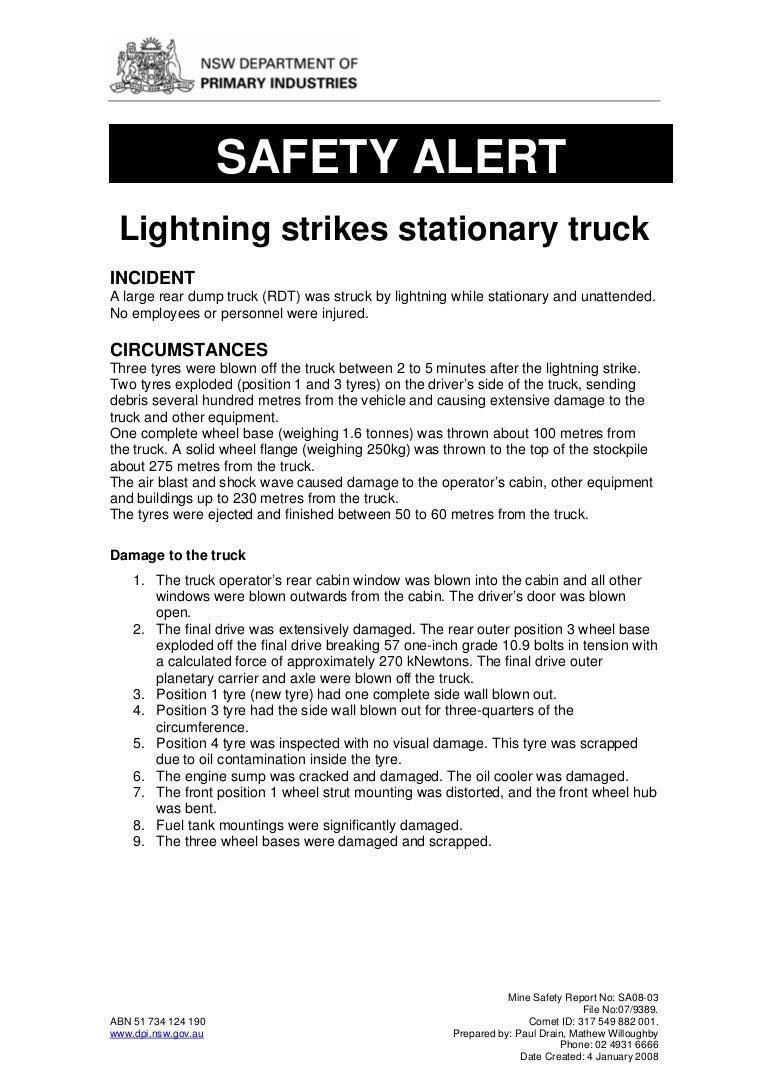 lightning strikes stationary truck
