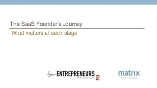 The SaaS Founder's Journey: What Matters at Each Stage