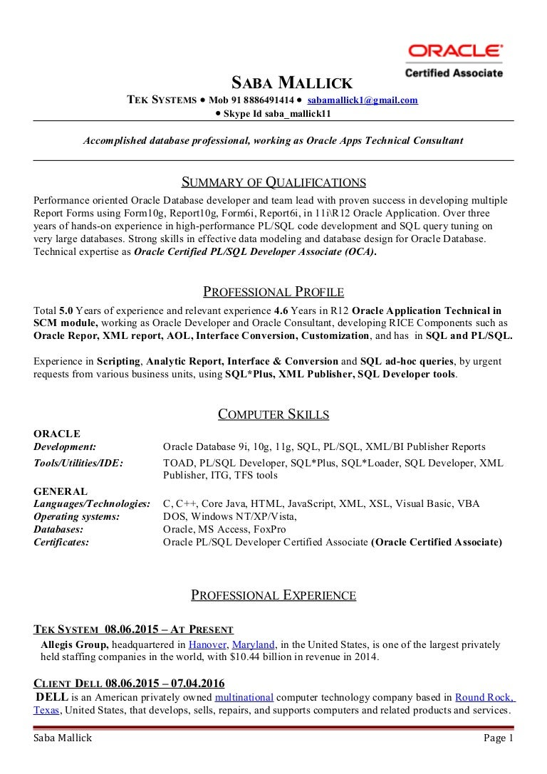 resume Sample Resume For Oracle Pl Sql Developer saba resume
