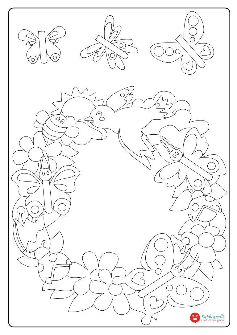 La ghirlanda di primavera disegni da colorare sabbiarelli for Disegni da colorare di pasqua