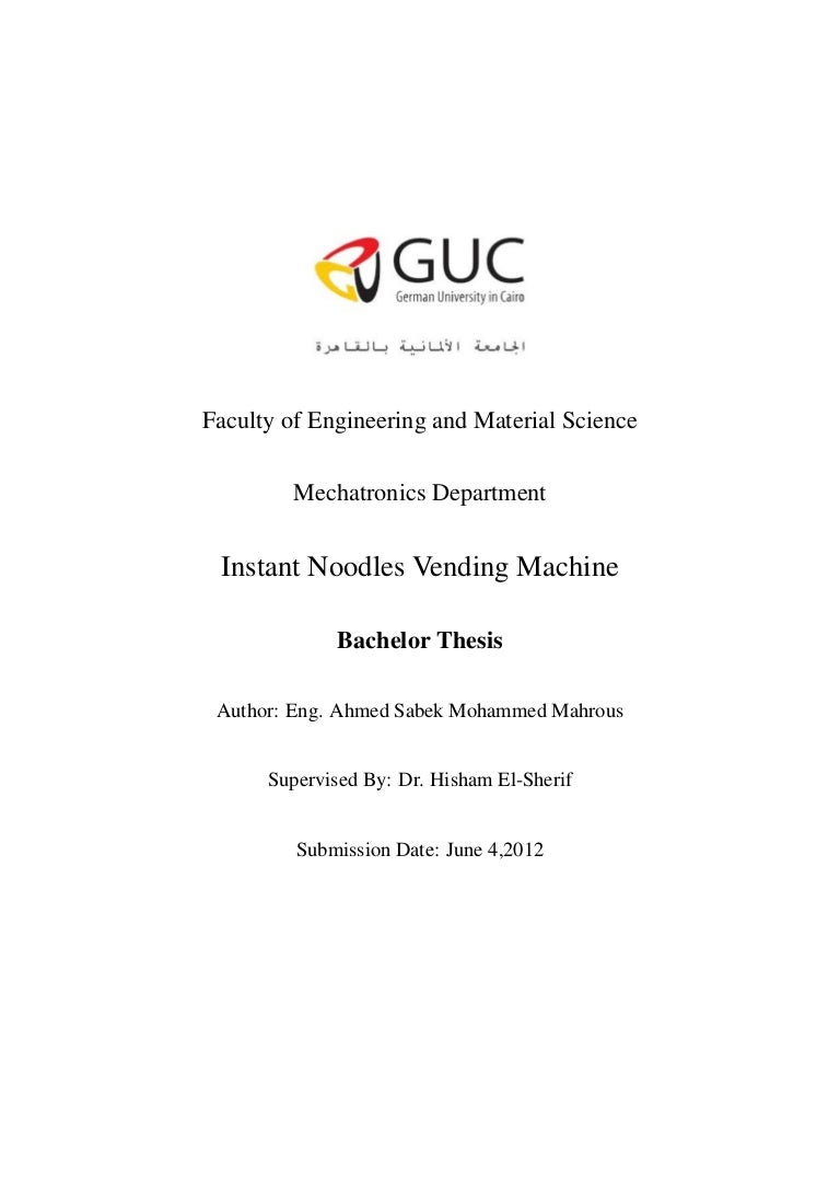 Noodles Vending Machine Bachelor Thesis Wiring Diagram