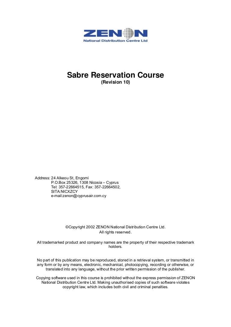 sabre reservation manual rh slideshare net