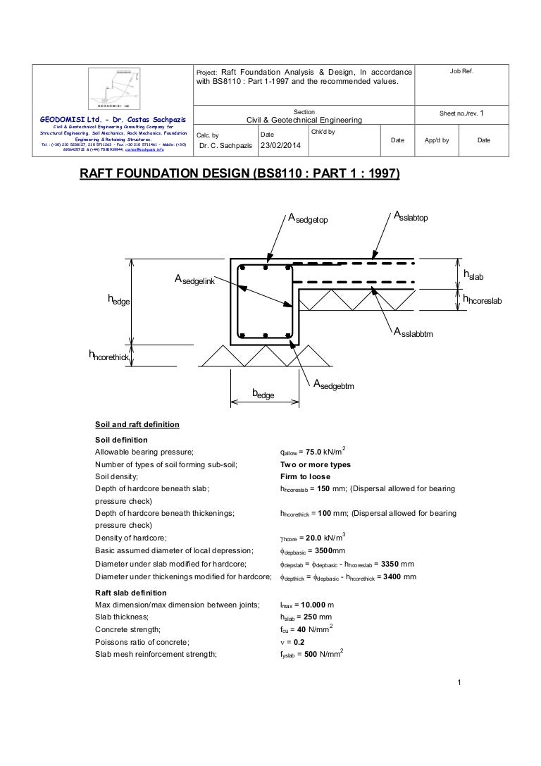 Sachpazis Raft Foundation Analysis Amp Design Bs8110 Part 1