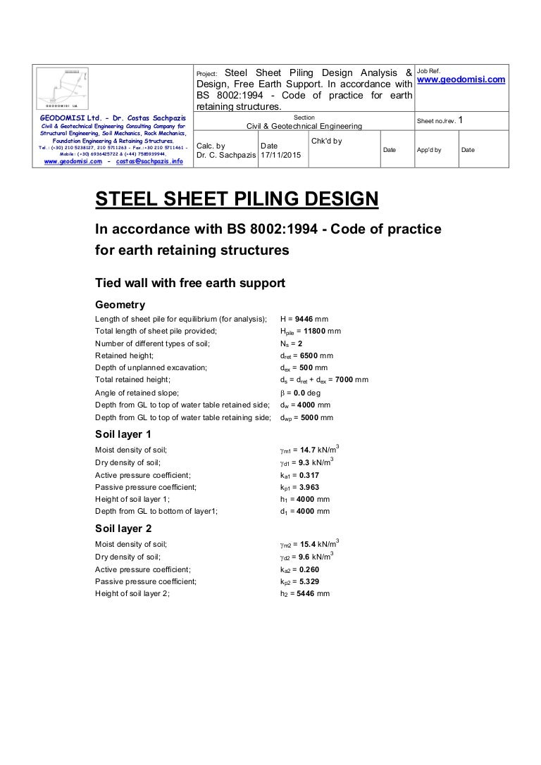Sachpazis Steel Sheet Piling Analysis & Design, Free Earth Support In…
