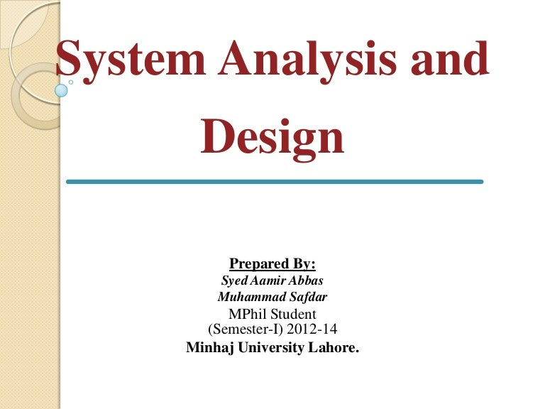 Systems Analysis and Design (SAD) Tutorial