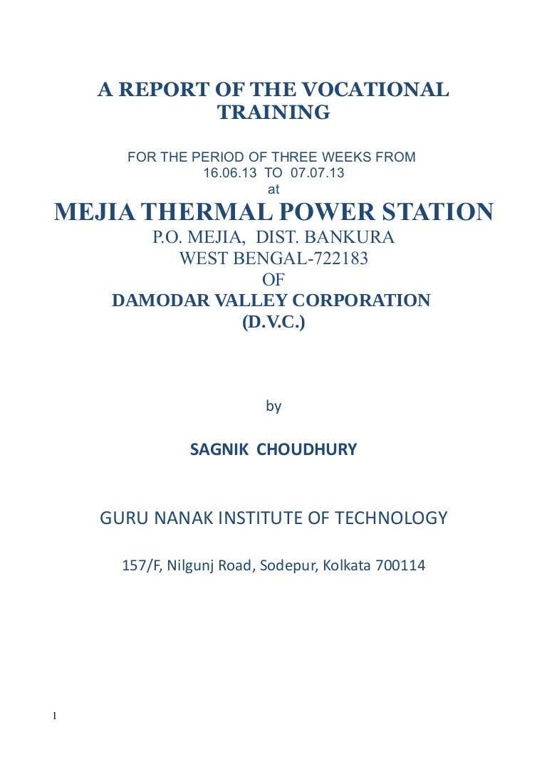 Training Report On Mejia Thermal Power Station Solid State Relay Kolkata