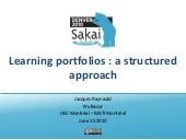 Learning portfolios : a structured approach