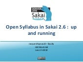 Open Syllabus in Sakai 2.6:  up and running