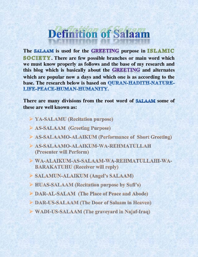 Salaam and its importance in islam m4hsunfo