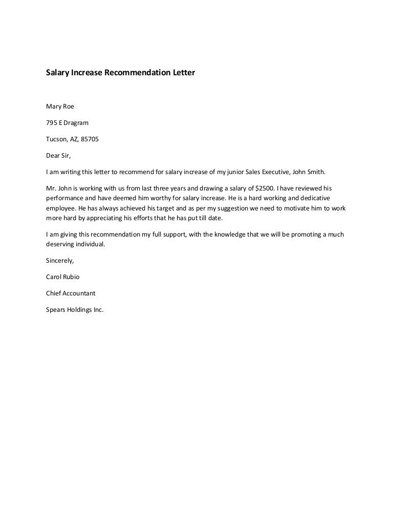 Salary Increase Recommendation Letter – Sample Letter Salary Increase