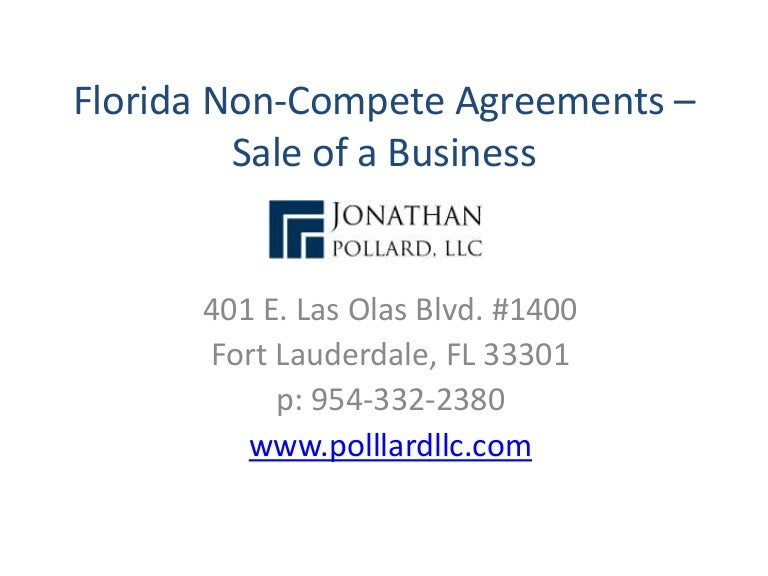 Florida NonCompete Agreements  Sale Of A Business
