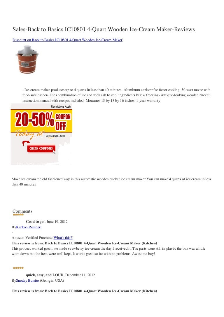Sales back-to-basics-ic10801-4-quart-wooden-ice-cream-maker-reviews