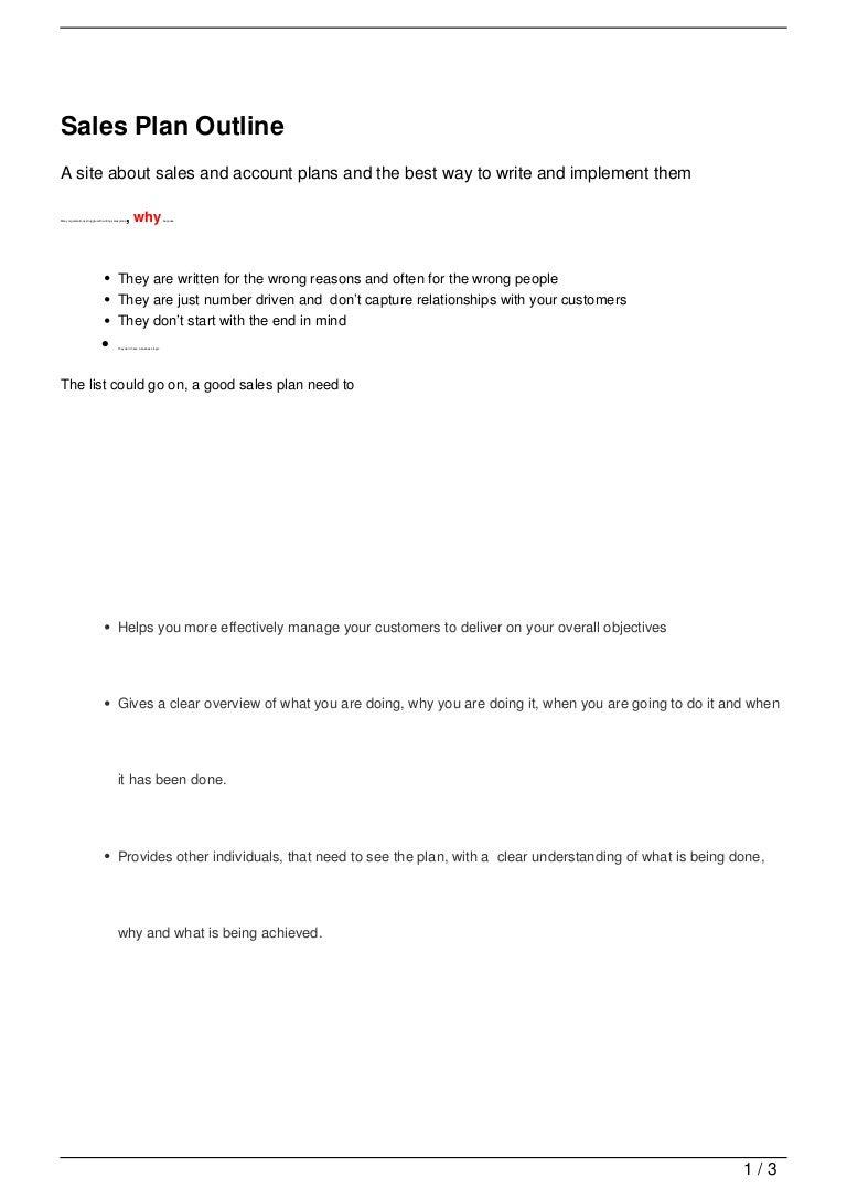 Sales Plan Outline – Best Sales Plan