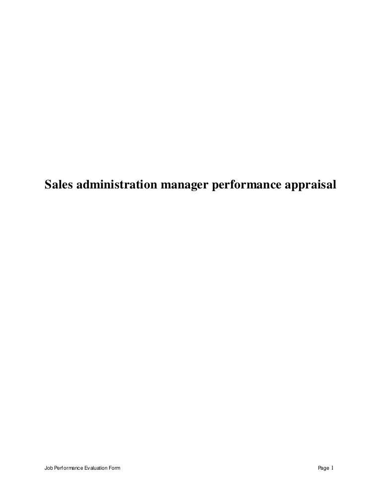 Sales administration manager perfomance appraisal 2