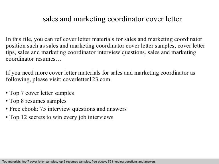 Sales and marketing coordinator cover letter – Marketing Coordinator Job Description