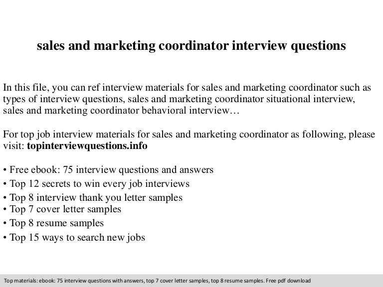 sales and marketing coordinator interview questions - Marketing Coordinator Interview Questions And Answers